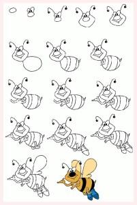 Рисуем пчелу, поэтапное рисование