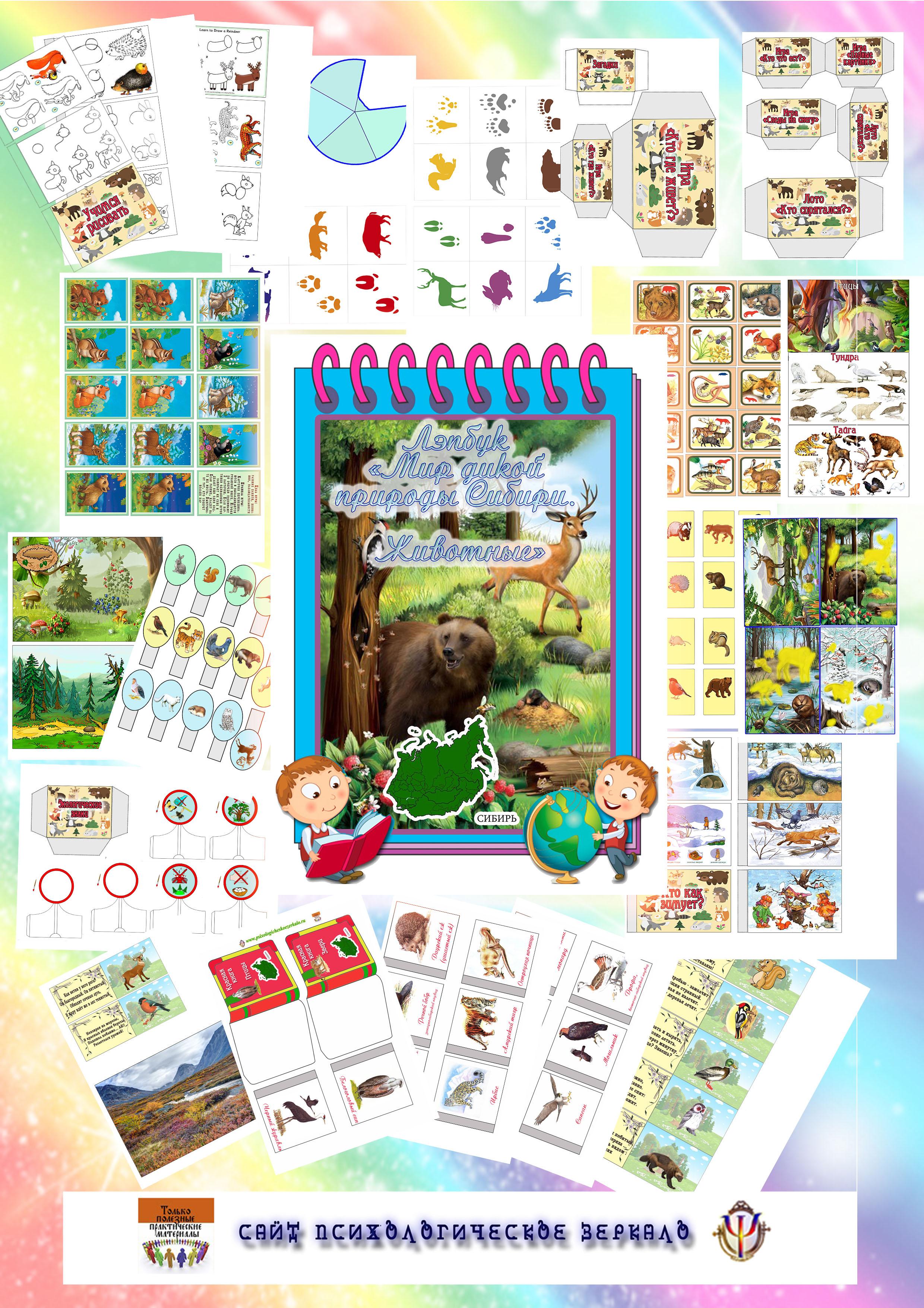 Дикие животные, Сибирь, лэпбук, купить, шаблоны