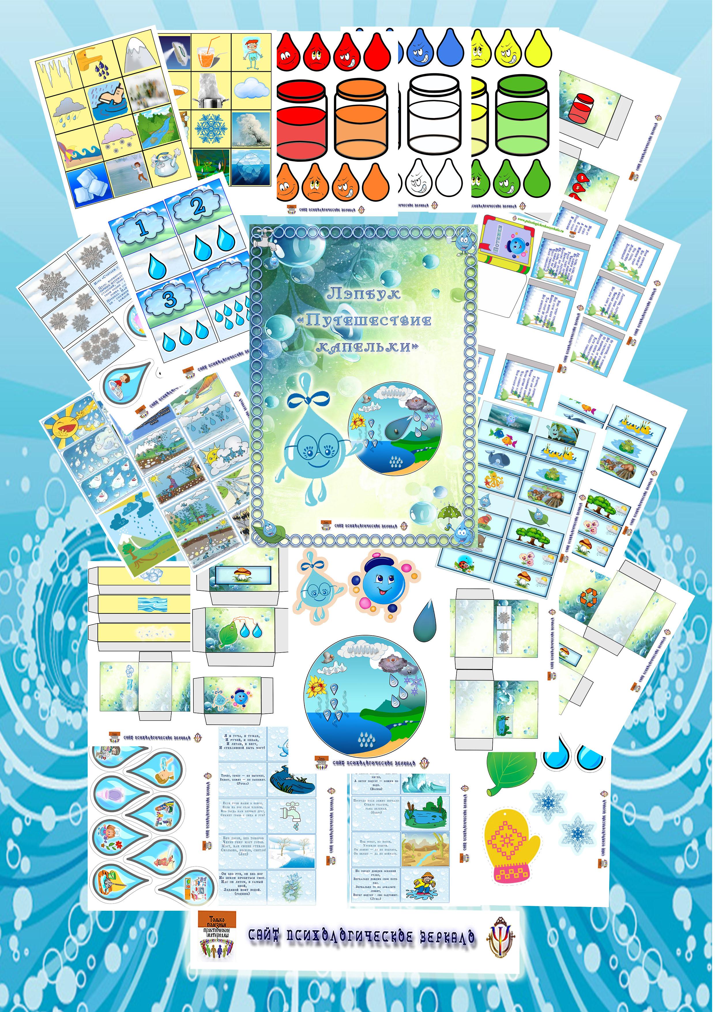 Лэпбук, круговорот воды, путешествие капельки, купить, скачать, шаблон, идеи