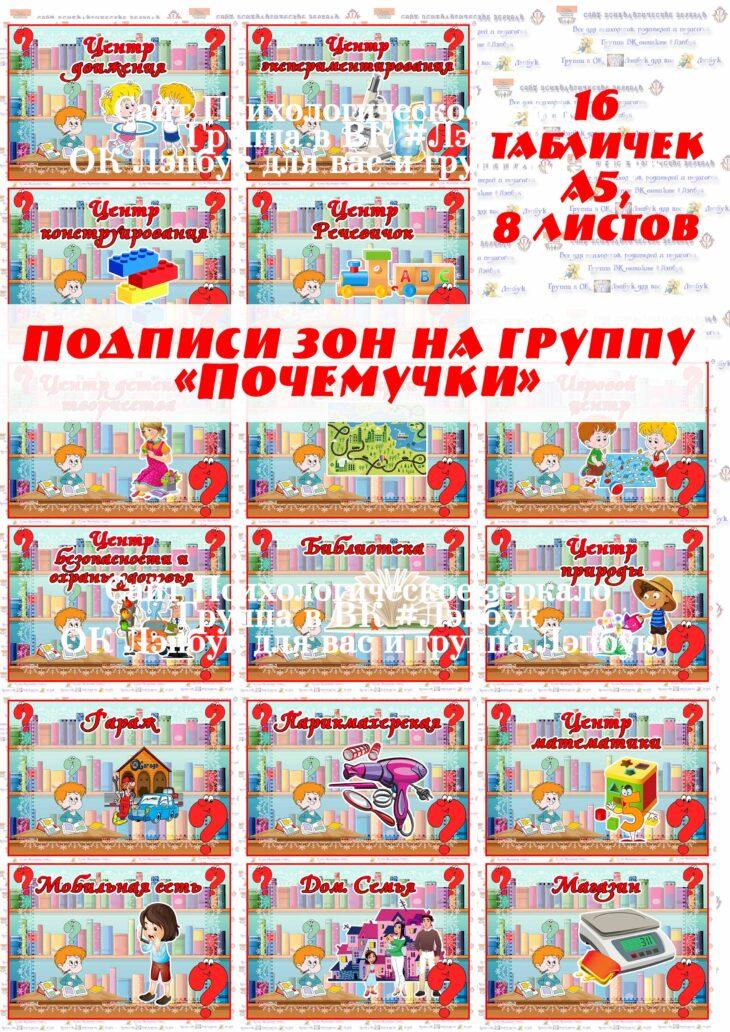 """Подписи центров на группу """"Почемучки"""""""