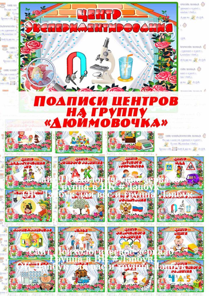 Центры на группу Дюймовочка