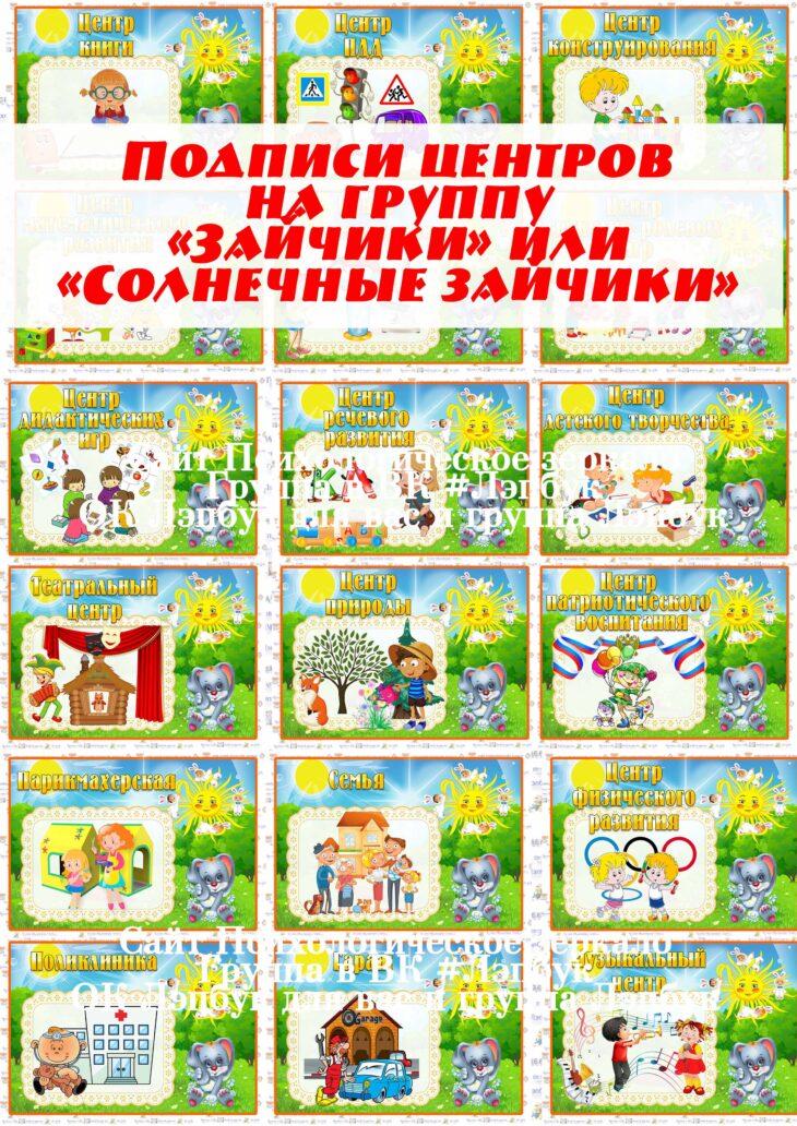 """Подписи центров на группу """"Солнечные зайчики"""""""