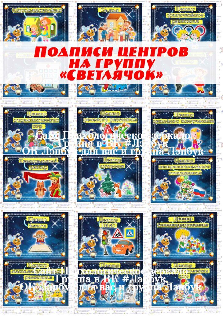 "Подписи центров на группу ""Светлячок"", ""Светляки"""