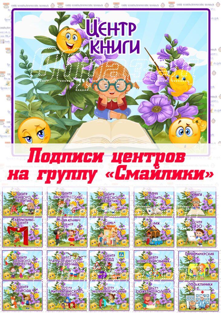 """Подписи центров на группу """"Смайлики"""""""