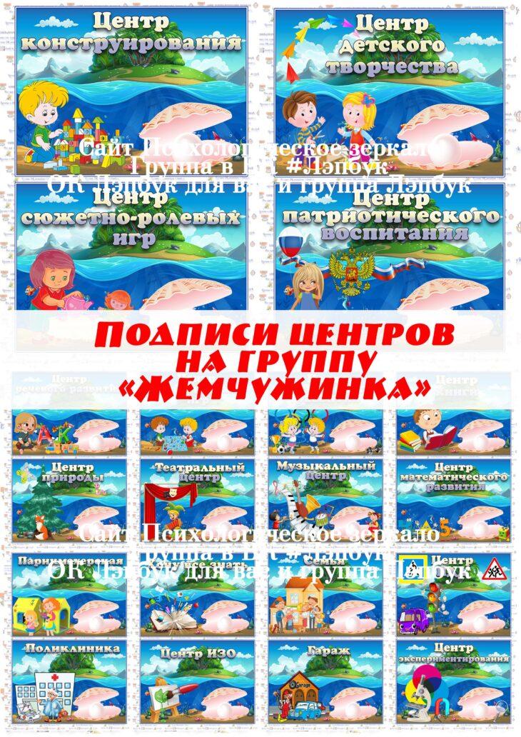 """Подписи центров на группу """"Жемчужинка"""""""