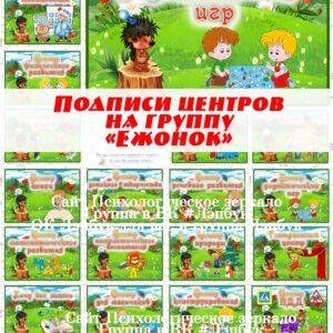 """Подписи центров на группу """"Ежонок"""", """"Ежата"""""""