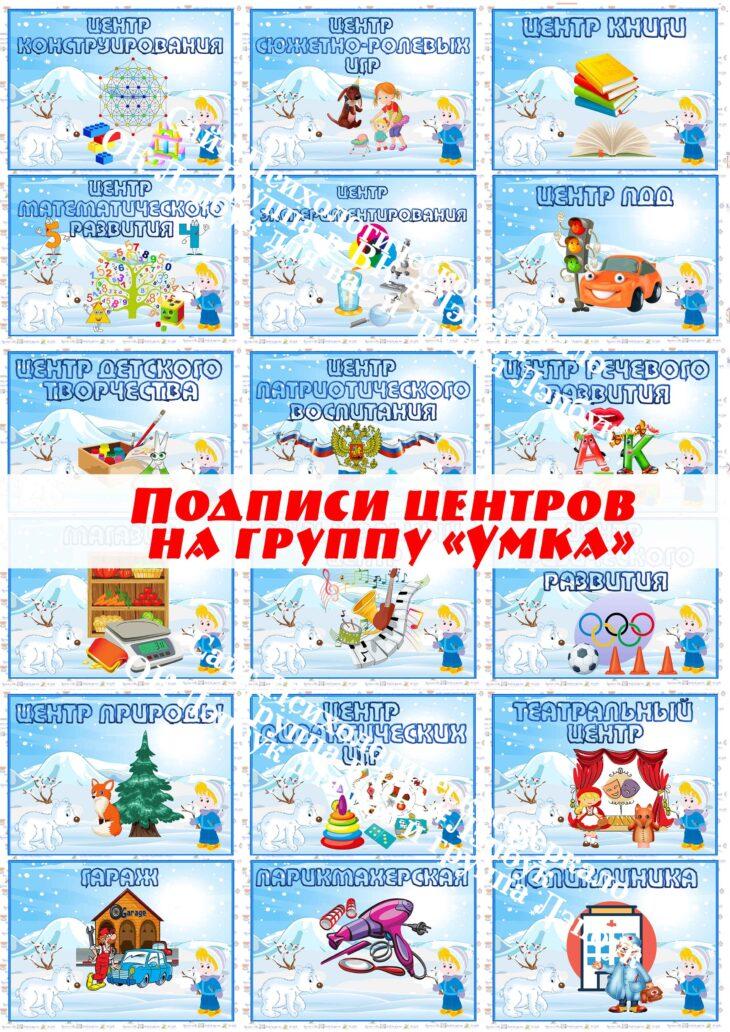 """Подписи центров на группу """"Умка"""""""