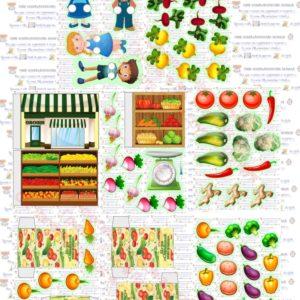 Игра, сюжетно-ролевая, магазин, весы, овощи